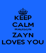 KEEP CALM MADISON ZAYN LOVES YOU - Personalised Poster A4 size