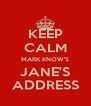 KEEP CALM MARK KNOW'S JANE'S ADDRESS - Personalised Poster A4 size