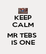 KEEP CALM   MR TEBS  IS ONE - Personalised Poster A4 size