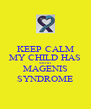 KEEP CALM MY CHILD HAS SMITH MAGENIS SYNDROME - Personalised Poster A4 size