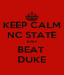 KEEP CALM NC STATE JUST BEAT  DUKE - Personalised Poster A4 size
