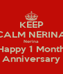 KEEP CALM NERINA Nerina Happy 1 Month Anniversary - Personalised Poster A4 size