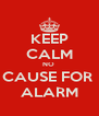 KEEP CALM NO  CAUSE FOR  ALARM - Personalised Poster A4 size