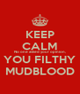 KEEP CALM No one asked your opinion, YOU FILTHY MUDBLOOD - Personalised Poster A4 size