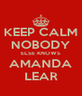 KEEP CALM NOBODY ELSE KNOWS AMANDA LEAR - Personalised Poster A4 size