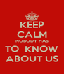 KEEP CALM NOBODY HAS TO  KNOW ABOUT US - Personalised Poster A4 size