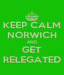 KEEP CALM NORWICH AND GET RELEGATED - Personalised Poster A4 size