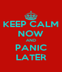 KEEP CALM NOW AND PANIC LATER - Personalised Poster A4 size