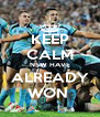 KEEP CALM NSW HAVE ALREADY WON  - Personalised Poster A4 size