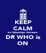 KEEP CALM on Saturdays because DR WHO is ON - Personalised Poster A4 size