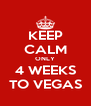 KEEP CALM ONLY 4 WEEKS TO VEGAS - Personalised Poster A4 size