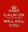 KEEP CALM OR CHUCK NORRIS WILL KILL YOU - Personalised Poster A4 size