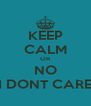 KEEP CALM OR NO I DONT CARE - Personalised Poster A4 size