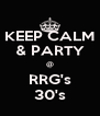 KEEP CALM & PARTY @ RRG's 30's - Personalised Poster A4 size