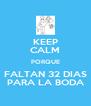 KEEP CALM PORQUE FALTAN 32 DIAS PARA LA BODA - Personalised Poster A4 size