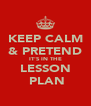 KEEP CALM & PRETEND IT'S IN THE LESSON  PLAN - Personalised Poster A4 size