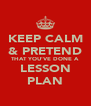 KEEP CALM & PRETEND THAT YOU'VE DONE A LESSON PLAN - Personalised Poster A4 size