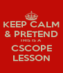 KEEP CALM & PRETEND THIS IS A  CSCOPE LESSON - Personalised Poster A4 size