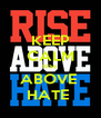 KEEP CALM RISE ABOVE  HATE  - Personalised Poster A4 size