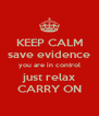 KEEP CALM save evidence you are in control just relax CARRY ON - Personalised Poster A4 size
