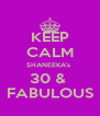 KEEP CALM SHANEEKA's  30 &  FABULOUS - Personalised Poster A4 size