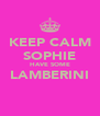 KEEP CALM SOPHIE HAVE SOME LAMBERINI  - Personalised Poster A4 size