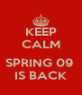 KEEP CALM  SPRING 09  IS BACK - Personalised Poster A4 size