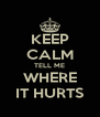 KEEP CALM TELL ME WHERE IT HURTS - Personalised Poster A4 size