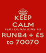 KEEP CALM TEXT DONATIONS TO RUN84 + £5 to 70070 - Personalised Poster A4 size