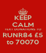 KEEP CALM TEXT DONATIONS TO RUNR84 £5 to 70070 - Personalised Poster A4 size