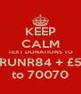KEEP CALM TEXT DONATIONS TO RUNR84 + £5 to 70070 - Personalised Poster A4 size