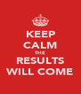 KEEP CALM THE RESULTS WILL COME - Personalised Poster A4 size