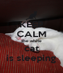 KEEP CALM the white cat is sleeping - Personalised Poster A4 size