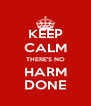 KEEP CALM THERE'S NO HARM DONE - Personalised Poster A4 size
