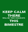 KEEP CALM THERE WILL BE TWO HOLIDAYS THIS BIMESTRE - Personalised Poster A4 size
