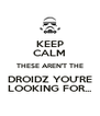 KEEP CALM THESE AREN'T THE DROIDZ YOU'RE LOOKING FOR... - Personalised Poster A4 size