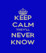KEEP CALM THEY'LL NEVER KNOW - Personalised Poster A4 size