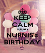 KEEP CALM TODAY NURNIS's BIRTHDAY - Personalised Poster A4 size