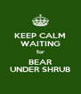 KEEP CALM WAITING for BEAR UNDER SHRUB - Personalised Poster A4 size