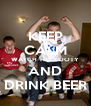 KEEP CALM WATCH THE FOOTY AND DRINK BEER - Personalised Poster A4 size