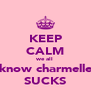 KEEP CALM we all know charmelle SUCKS - Personalised Poster A4 size