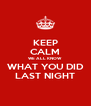 KEEP CALM WE ALL KNOW WHAT YOU DID LAST NIGHT - Personalised Poster A4 size