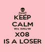 KEEP CALM WE KNOW X08 IS A LOSER - Personalised Poster A4 size