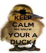 KEEP CALM WE KNOW YOUR A DUCK ! - Personalised Poster A4 size
