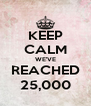 KEEP CALM WE'VE REACHED 25,000 - Personalised Poster A4 size