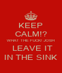 KEEP CALM!? WHAT THE FUCK! JOSH  LEAVE IT IN THE SINK - Personalised Poster A4 size