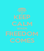 KEEP CALM WHEN FREEDOM COMES - Personalised Poster A4 size