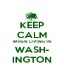 KEEP CALM WHEN LIVING IN WASH- INGTON - Personalised Poster A4 size