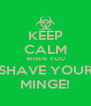 KEEP CALM WHEN YOU SHAVE YOUR MINGE! - Personalised Poster A4 size