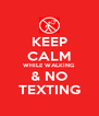 KEEP CALM WHILE WALKING & NO TEXTING - Personalised Poster A4 size